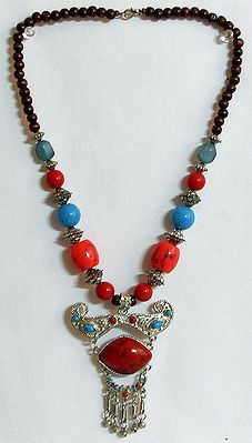 Red and Blue Bead Necklace with Designer Pendant