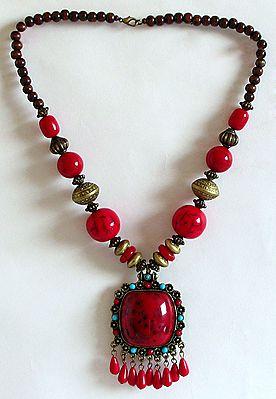 Tibetan Necklace with Square Pendant