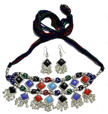 Multicolor Stone Choker and Earrings