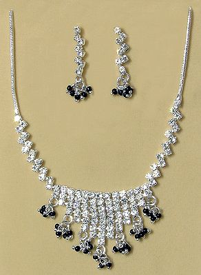 White Stone Studded Necklace and Earring Set