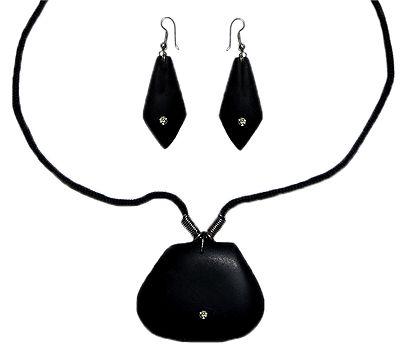 Black Wooden Adjustable Necklace