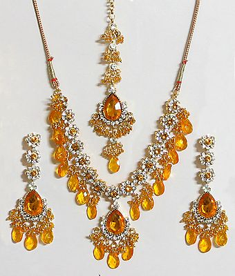Yellow and White Stone Studded Necklace with Earrings and Maang Tikka