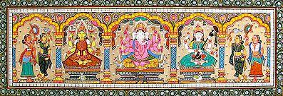 Lakshmi, Ganesha and Saraswati