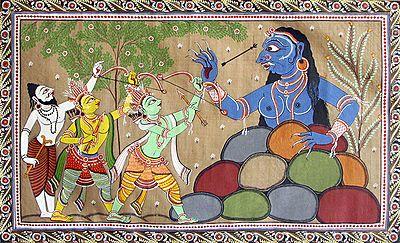 Rama and Lakshmana Fighting Demoness Taraka to Protect the Hermitage of Sage Vasishth