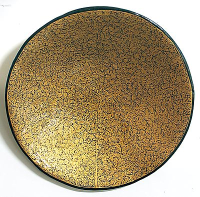 Decorative Gold Painted Papier Mache Plate from Kashmir - Wall Hanging