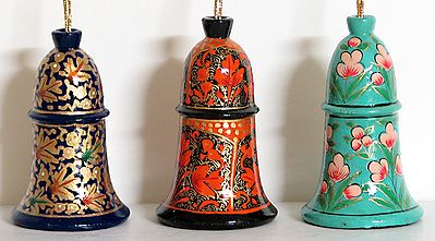 Hand Painted Hanging Papier Mache Bells from Kashmir (Set of Three)