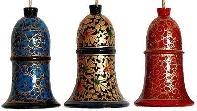 Hand Painted Hanging Papier Mache Bells from Kashmir