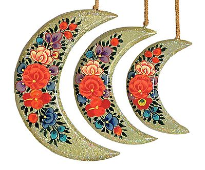 Hand Painted Hanging Papier Mache Moons from Kashmir (Set of Three)
