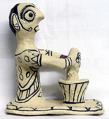 Indian Woman Grinding Spices - Tribal Art of Bihar