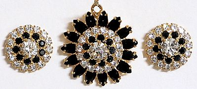 Black and White Stone Studded Round Shaped Pendant and Earrings