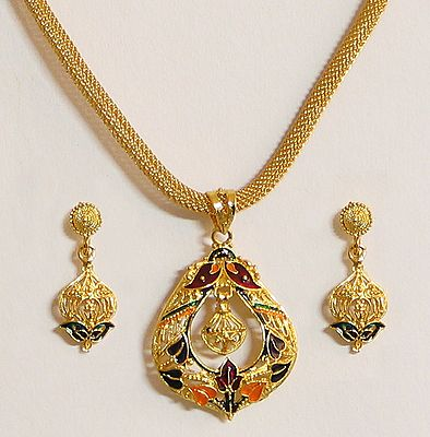 Gold Plated Chain with Meenakari Pendant and Earrings