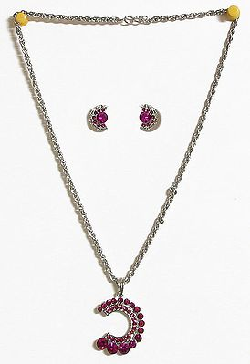 Magenta Stone Studded Pendant with Oxidised Metal Chain and Earrings