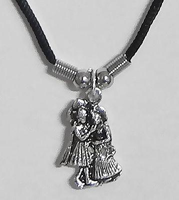 Radha Krishna Pendant with Black Cord