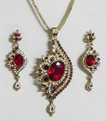 Red and White Stone Studded Pendant with Chain and Earrings