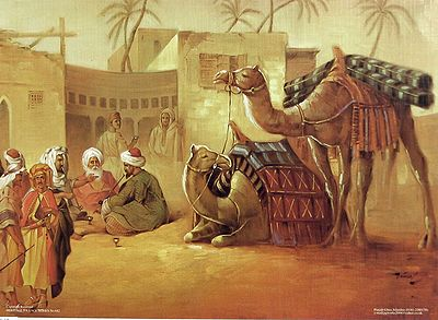People and Camels are Resting  in the Desert