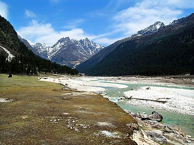 View of Snow Capped Himalayas from Yumthang Valley - North Sikkim, India