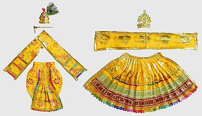 Golden Yellow Dresses and Accessories for 13 Inches Radha Krishna Idols