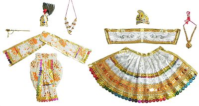 White Dresses and Accessories for 9.5 Inches Radha Krishna Idols