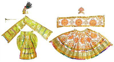 Light Green and White Dresses and Accessories for 12 Inches Radha Krishna Idols