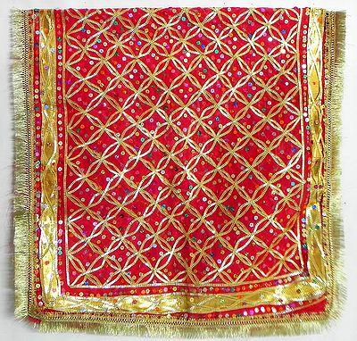 Red Chunni with Zari and Sequin Work for Goddess Bhagawati