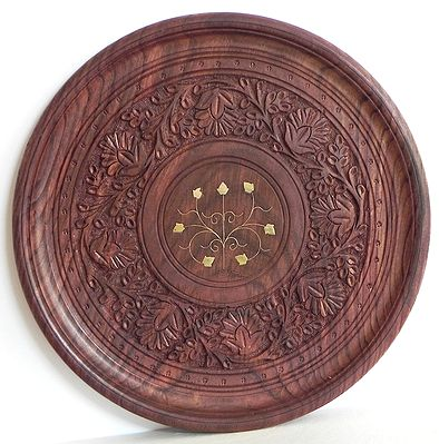 Wood Carved Ritual Plate with Brass Inlay