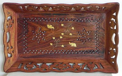 Wood Carved Ritual Tray with Brass Inlay