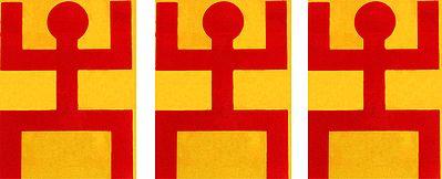 Three Pieces of Hindu Symbol on Plastic Sheet Sticker
