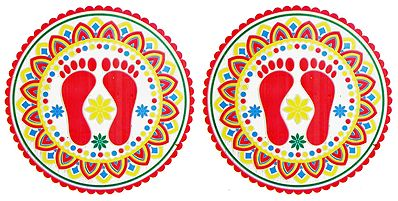 Set of Two Colorful Sticker Rangoli with Charan Print on Transparent Sheet