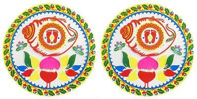 Set of Two Colorful Sticker Rangoli with Lakshmi Charan Print on Transparent Sheet