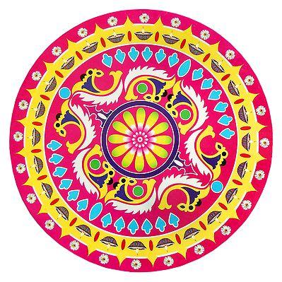 Rangoli Paper Sticker With Colorful Print Dia 14 Inches