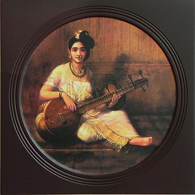 Lady Playing Veena (Deco Painting) - Wall Hanging