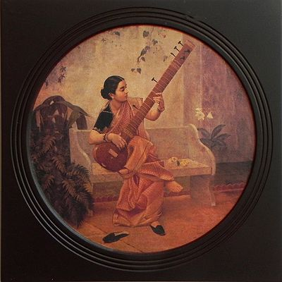 Lady Playing Sitar (Deco Painting) - Wall Hanging