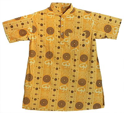 Half Sleeve Yellow Short Kurta with Om and Charan Print