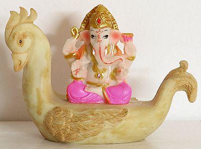Ganesha Sitting on Swan boat