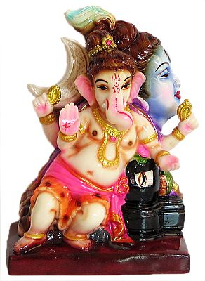 Ganesha Sitting with Shivalinga and Lord Shiva