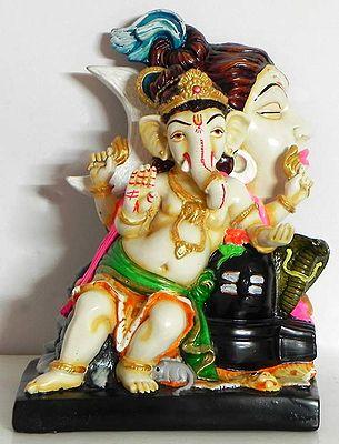 Ganesha Sitting with Shivalinga and Lord Shiva