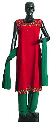Embroidered  and Beadwork Red Kurta with Green Salwar and Dupatta