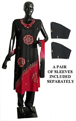 Embroidered Black and Red Salwar Kurta and Chunni with a Pair of Unstitched Sleeves