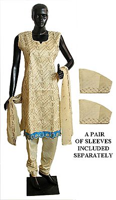 Embroidered Light Beige Churidar, Kurta and Chunni with a Pair of Additional Unstitched Sleeves