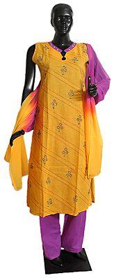 Embroidered Stone Setting Yellow Kameez, Magenta Salwar and Magenta Yellow Combination Chunni