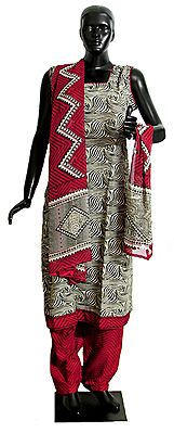 Printed Black and White Kurta with Red Salwar and Dupatta