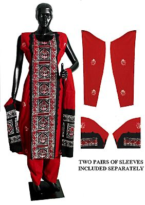 Red and Black Batik Print Salwar, Kurta and Chunni with Two Pairs of Additional Unstitched Sleeves