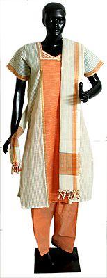 Saffron and Striped White Salwar, Kurta and Chunni