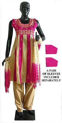 Magenta and Beige Salwar, Kurta and Chunni with embroidery and Sequin Work