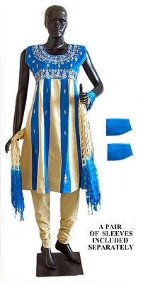 Blue and Beige Salwar, Kurta and Chunni with embroidery and Sequin Work