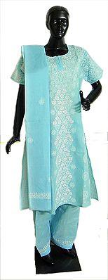 Chikan Embroidered on Light Blue Salwar Kurta and Chunni