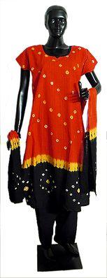 Dark Saffron with Black Tie and Dye Salwar Kurta with Chunni