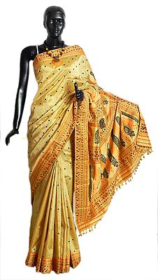 Light Beige Assam Silk Saree with All-Over Boota and Weaved Designer Border and Pallu
