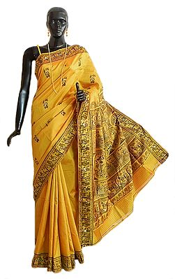 Golden Yellow Baluchari Silk Saree with All-Over Boota and Woven Mahabharata Scene on the Pallu and Border