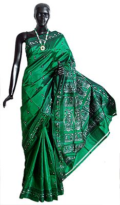 Green Baluchari Silk Saree with All-Over Boota and Woven Wedding Scene in Black and Green on the Pallu